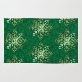 Primitive Gold Snowflakes on Green Rug