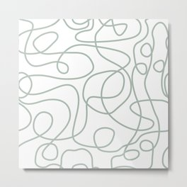 Doodle Line Art | Light Gray Green Lines on White Background Metal Print