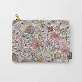 Cute Girly Old Rose Pink Floral Doodles Design Carry-All Pouch