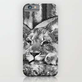 AnimalArtBW_Lion_20171205_by_JAMColors iPhone Case