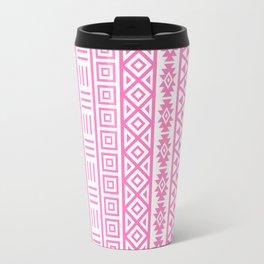 Aztec Influence Pattern Pink on White Travel Mug