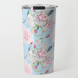 Bluebirds and Watercolor roses on pale blue with white French script Travel Mug