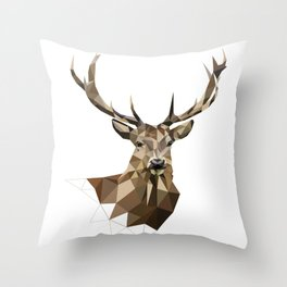 Geometric deer Woodland art Forest animals Brown and gray Throw Pillow
