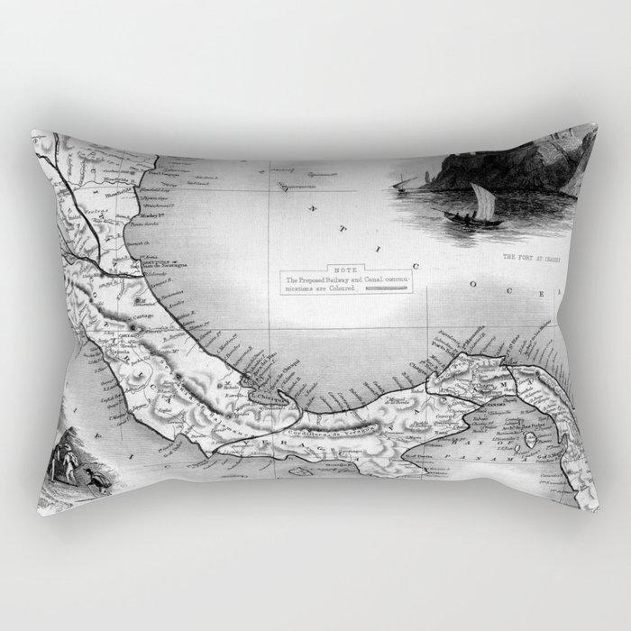 Vintage Map of Panama (1851) BW Rectangular Pillow