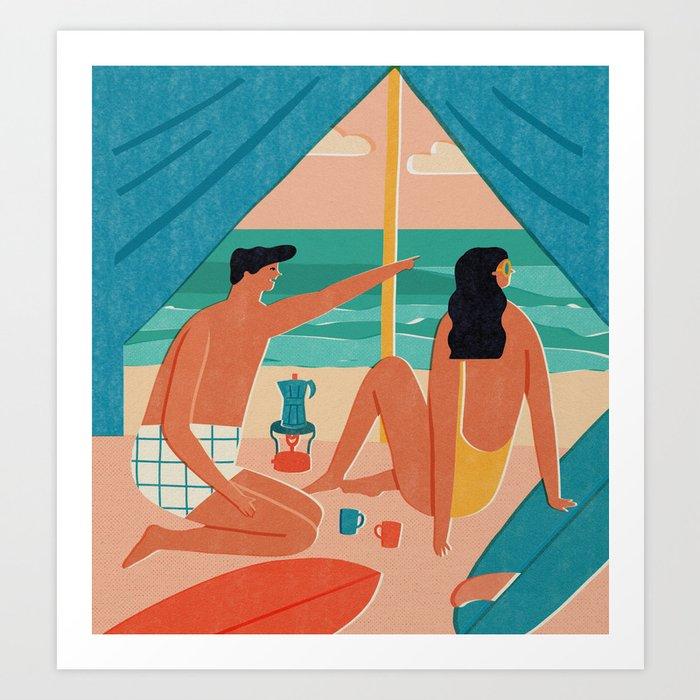 Surf camp Art Print