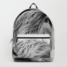 Highland cow greyscale close up  Backpack