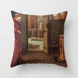 "Edward Burne-Jones ""Danaë Watching the Building of the Brazen Tower"" Throw Pillow"
