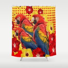 DECORATIVE TROPICAL RED MACAWS & HIBISCUS  FLOWERS Shower Curtain