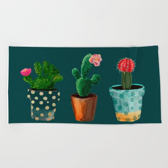 Three Cacti With Flowers On Green Background Beach Towel
