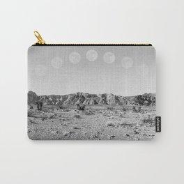 Desert Moon Ridge B&W // Summer Lunar Landscape Teal Sky Red Rock Canyon Rock Climbing Photography Carry-All Pouch