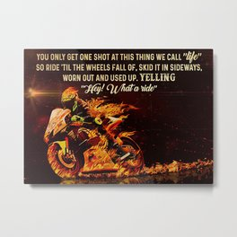Speed Addicts Motorcycle Racing What A Ride Metal Print