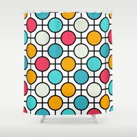 polka dots Shower Curtains featuring Polka Dots by Dizzy Moments