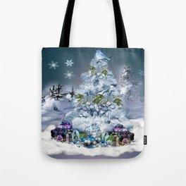 Snowy Blue Christmas Scene Tote Bag