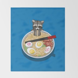 Raccoon Ramen Throw Blanket