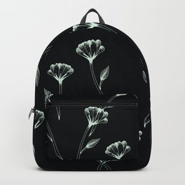 Minimal beautiful flower field art in black and turquoise Backpack