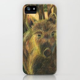 Wild pig in the wood iPhone Case