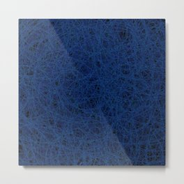 Slate Blue Thread Texture Abstract Metal Print
