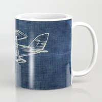 plane Mugs featuring Plane by Mr and Mrs Quirynen