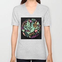 hop Peace And Love joy kindness Unisex V-Neck