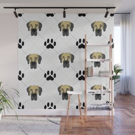 Faun Great Dane Paw Print Pattern Wall Mural