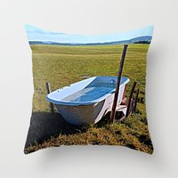 outdoor Throw Pillows featuring Outdoor pool | conceptual photography by Patrick Jobst