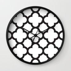 Black Quatrefoil Wall Clock