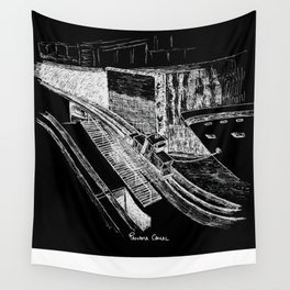 Panama Canal - White on Black Wall Tapestry
