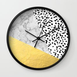 Marble Gold Dots - modern hipster trendy shiny gold foil cell phone case iphone dorm college Wall Clock
