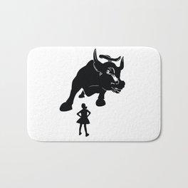 Girl vs Charging Bull - Fearless Girl Bath Mat