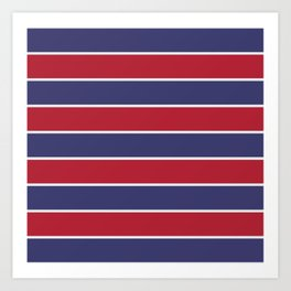 7d8360c7490 Large Red White and Blue USA Memorial Day Holiday Horizontal Cabana Stripes  Art Print