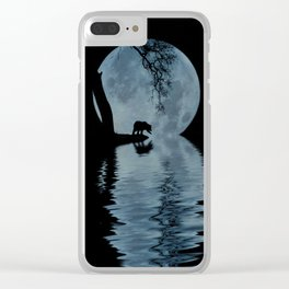 Bear and Blue Moon With Water, Fantasy Bear Photography Clear iPhone Case
