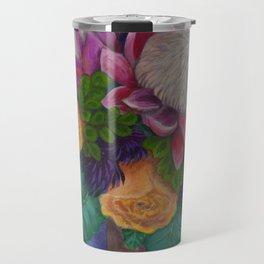 Fantasy Queen Proteas and Orange Roses Travel Mug
