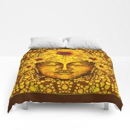 Golden Sunflowers  Sun Lover Coffee Brown Patterns Comforters