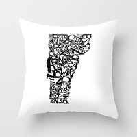vermont Throw Pillows featuring Typographic Vermont by CAPow!