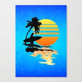 Surfing Sunrise Canvas Print