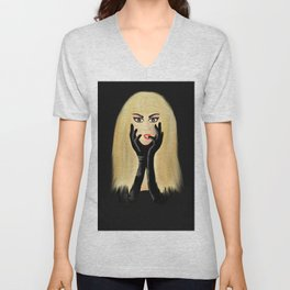 The Girl with the Black Satin Gloves Unisex V-Neck