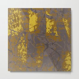 Kassandra, abstract painting yellow on kaki Metal Print