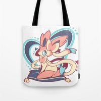 sylveon Tote Bags featuring Sylveon by Yamilett Pimentel