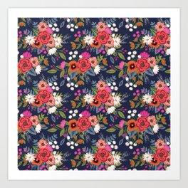 Bohemian Bouquets Floral Pattern Art Print