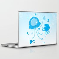 dumbo Laptop & iPad Skins featuring Kawaii Pastellyfish Jellyfish and Dumbo Octopus by KawaiiMachine