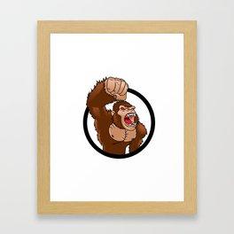 Angry gorilla cartoon Framed Art Print