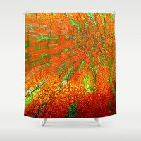 metallic Shower Curtains featuring Metallic sun by Lydia Cheval