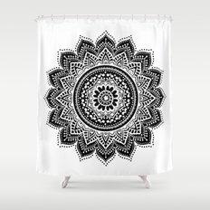 black white mandala Shower Curtain