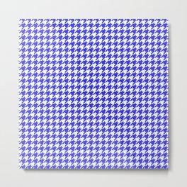 Friendly Houndstooth Pattern, blue Metal Print