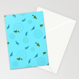 Blue Dolphin and Orca Stationery Cards