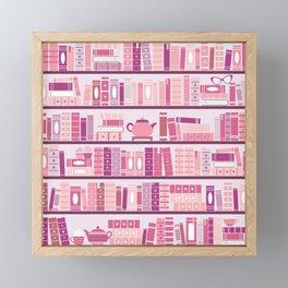 Bookcase Pattern Romance Pink Books Framed Mini Art Print
