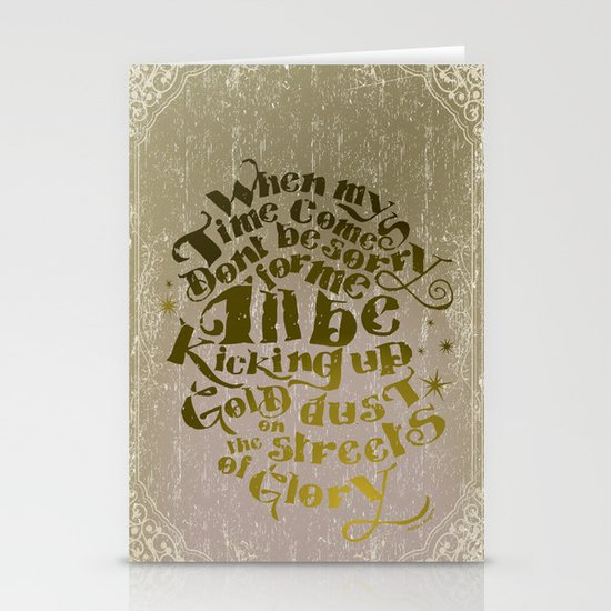 Kicking up gold dust on the streets of glory Stationery Cards