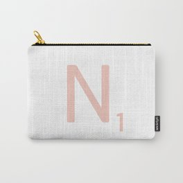 Pink Scrabble Letter N - Scrabble Tile Art and Accessories Carry-All Pouch