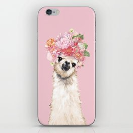 Llama with Flower Crown in Pink iPhone Skin