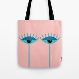 Unamused Eyes | Turquoise on Rosequartz Tote Bag